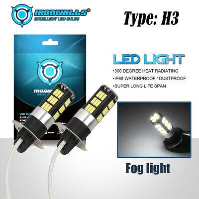 2X H3 LED Fog Light 100W Super Bright CREE Car Driving Light White Bulbs 6000K