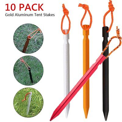 10 Pack Heavy Duty Aluminum Metal Tent Canopy Camping Stakes Pegs Ground Nail BT - Metal Stakes