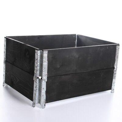 4x Palettenrahmen Aufsatzrahmen Hochbeet Gartenbeet Rahmen schwarz 120 x 80cm