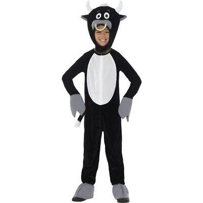 Kids Deluxe Bull Black Jumpsuit & Headpiece Child Zip-Up Halloween Costume - Child Bull Costume