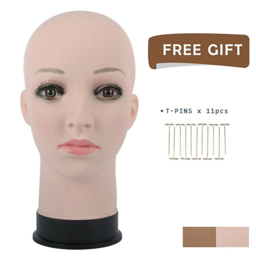 GEX Female Mannequin Bald Wig Making Head for Hats Sunglasses Scarves Display