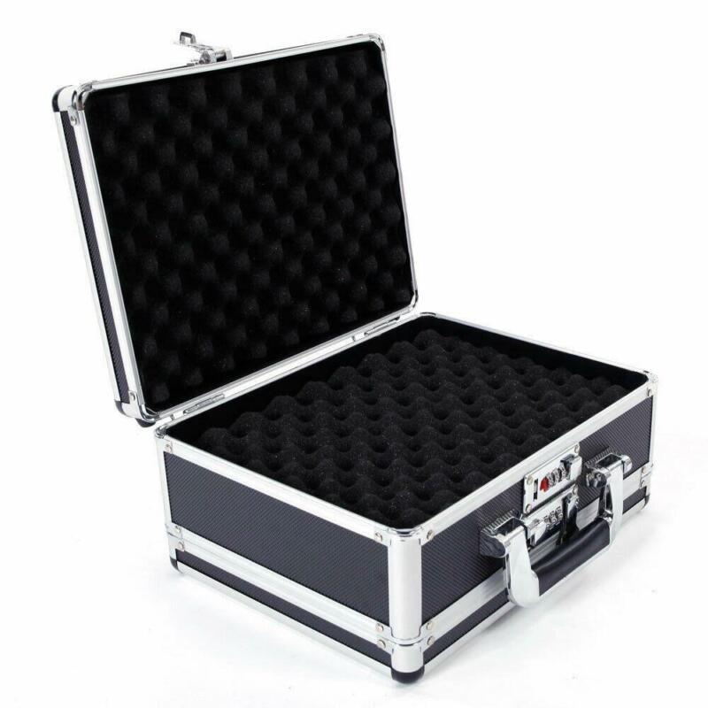 Aluminum & ABS & Foam Locking Gun Pistol HandGun Lock Box Hard Storage Silver