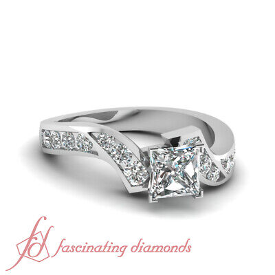 1.50 Ct Princess Cut Diamond Channel Set Engagement Ring 14K Gold GIA Certified