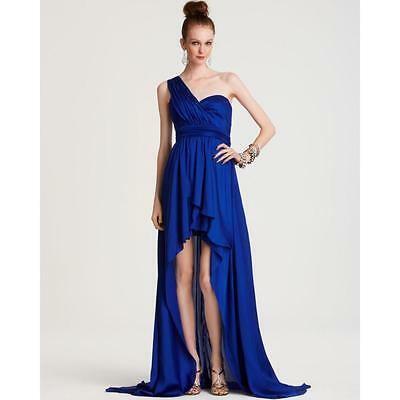 AQUA ~ Blue Charmeuse Satin One Shoulder Ruched Hi-Low Party Gown 6 NEW $248