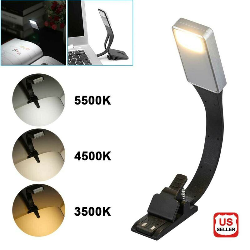 USB LED Clip On Book Light Night Reading Lamp Rechargeable Dimmable Eye Protect