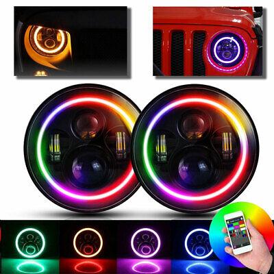"""Halo RGB 7""""LED Headlights DRL Lights Combo KIT 2PCS For JEEP Wrangler JK TJ LJ"""