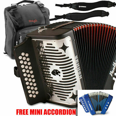 Hohner Panther GCF Sol 31 Button Accordion w/ Bag, Strap & Blue Mini Accordion