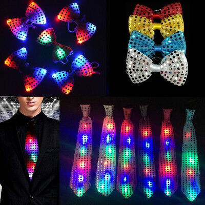 Mens SequinBow Tie Necktie LED Flashing Suit Bowtie Formal Party Wedding Supply - Led Bowtie