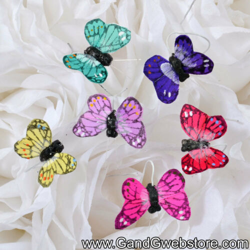 """1"""" Feather Decorative Artificial Butterflies 12pcs Fake Butterfly Multi Color"""