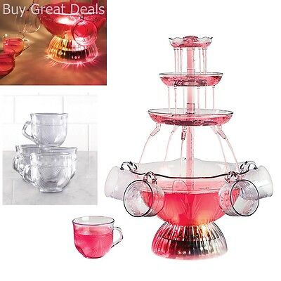 Lighted Punch Fountain - Vintage Collection 3 Tier Tower Lighted Party Fountain Beverage Punch Set Cups
