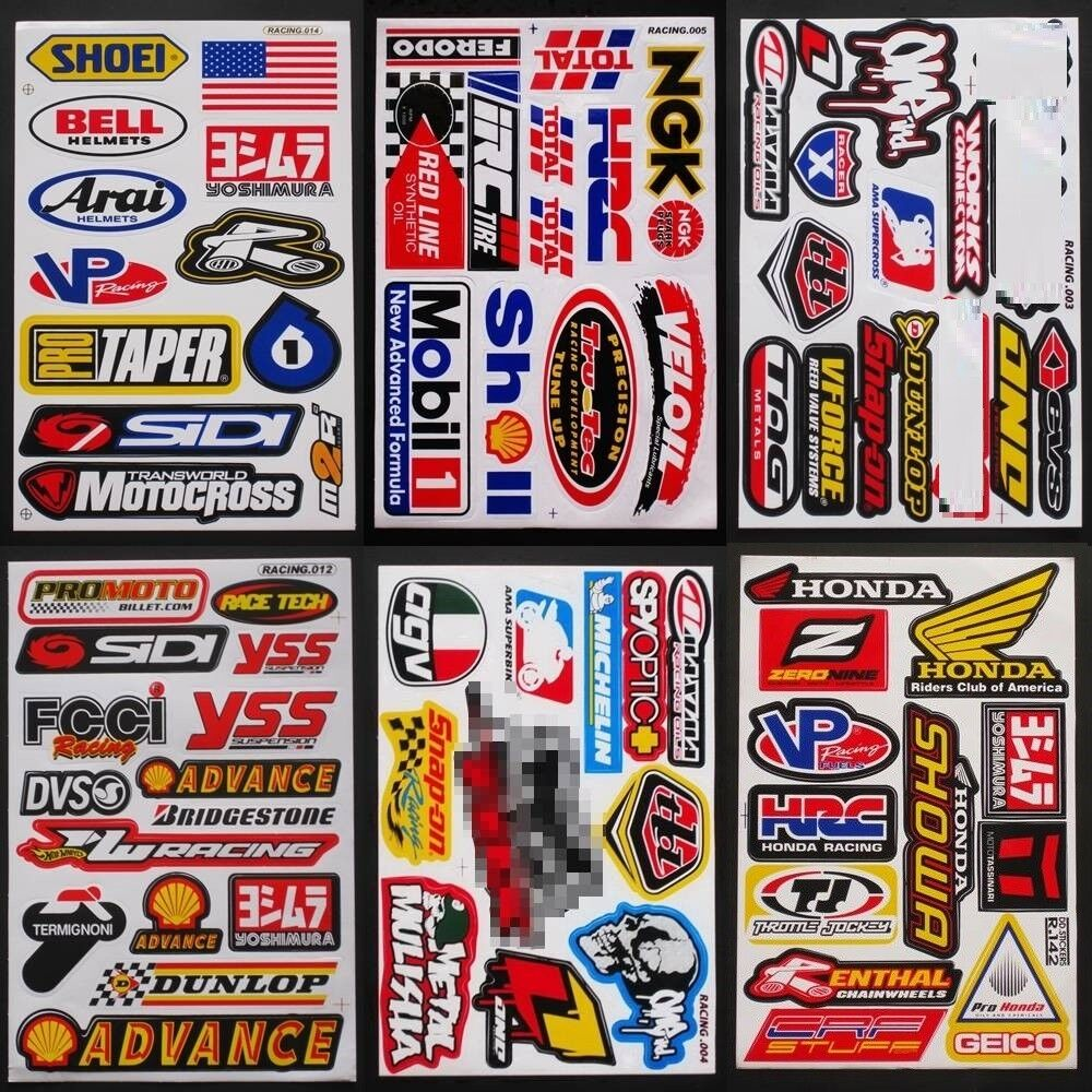 Motocross racing Dirt Rider Nascar Moto Bike Decal Car Truck Stickers  6 Sheets
