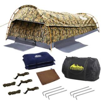 Double Camping Canvas Swag Tent Desert Camouflage w/ Bag South Morang Whittlesea Area Preview