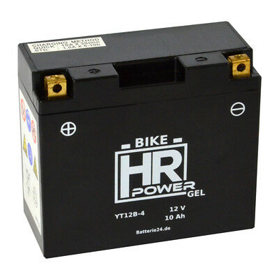 HR Bike Power 12V 10Ah GEL Motorradbatterie YT12B-4 CT12B-4 GT12B-4 FT12B-4 A-D