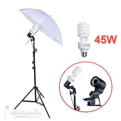 Photo Studio Continuous Lighting One Umbrella Light Lamp Photography Stand Kit