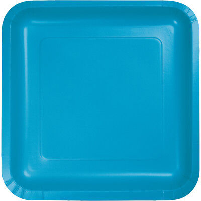 (54 Pack) Turquoise Square Paper Plates 7-inch Plates Wedding Birthday Shower  - Paper Square Plates
