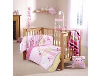 Cot bumper and quilt set including mobile and cushion..lottie and squeak by clair de lune....