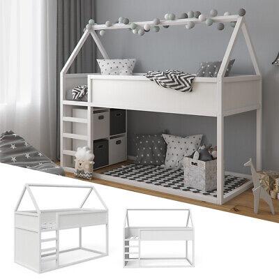 Kinder Hochbett (VITALISPA Hochbett Pinocchio Spielbett Kinderbett Erle weiß Jugendbett Hausbett)
