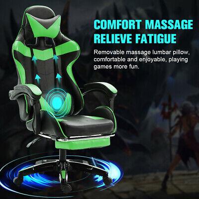 Ergonomic Gaming Racing Chair Computer Desk Swivel Footrest Lumbar Massage Seat