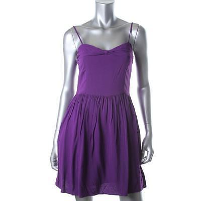 Aqua New Purple Colorblock Adjustable Straps High Waist Casual Summer Dress Sz M