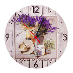 Round Analog Wall Clock Living Room Home Office Lavender Floral Pattern