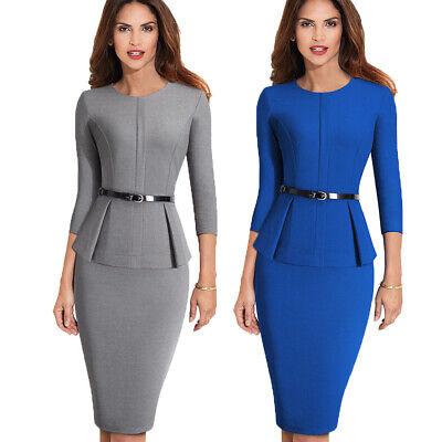 Women Elegant Work Business Office Formal Belt Party Bodycon Pencil Sheath Dress (Office Parties)