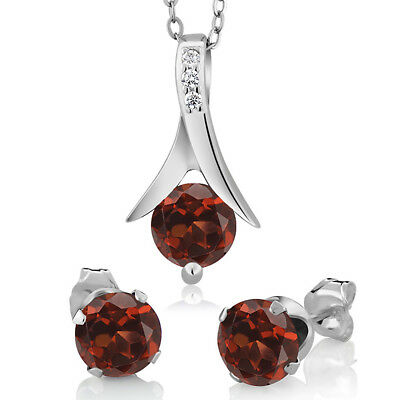 "Sterling Silver 925 Pendant Earrings Set Round Garnet 2.25 cttw 18""Chain"