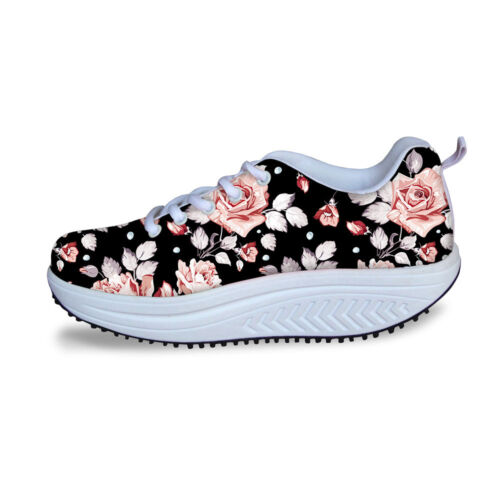Floral Womens Platform Sneakers Shape Up Wedge Slimming Toni