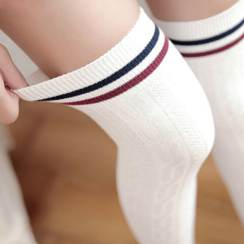Plus Size Women Striped Thigh High Long Socks Sheer Girl Over The Knee Stockings Clothing, Shoes & Accessories