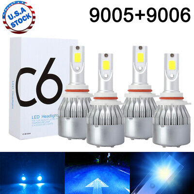 Combo 9005 9006 Ice Blue 8000K CREE LED Headlight Kit Bulbs High Low Beam US