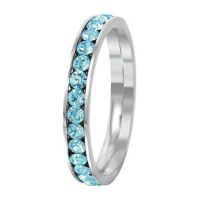 Stainless Steel Eternity Aquamarine Crystal March Birthstone Stackable Ring 3MM - Birthstone Ring