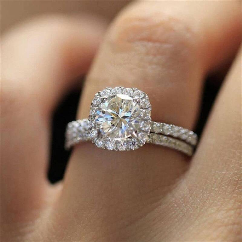 925 Silver White Sapphire Wedding Band Rings Set Women Fashi