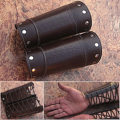 HAND MADE BROWN REAL Leather Armor Pointed Top Bracers Medieval Halloween - Medieval Halloween