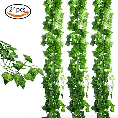Ivy Leaf (24pcs Artificial Hanging Plant Leaf Fake Foliage Ivy Vine Garland Leaves)