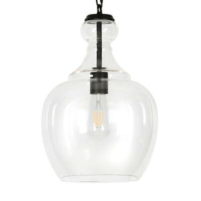 Hudson&Canal Westford Blackened Bronze and Clear Glass Pendant