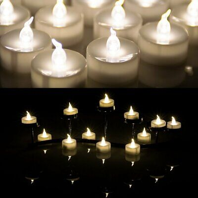 Lot 100 Flameless Battery Operated Flickering LED Warm White Tea Light Candles