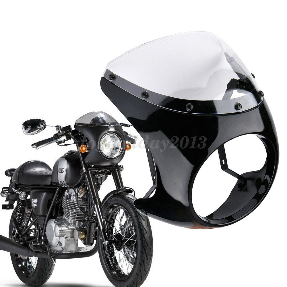 Details about 7'' Round Headlight Retro Cafe Racer Handlebar Fairing  Windshield For Harley ABS