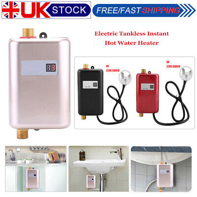 Electric Tankless Instant Hot Water Heater Under Sink Tap Bathroom Kitchen 3400W