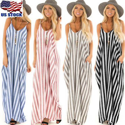 Women Sling Striped Boho Maxi Dress Summer Long Beach Sundress Party Dresses USA - Striped Maxi