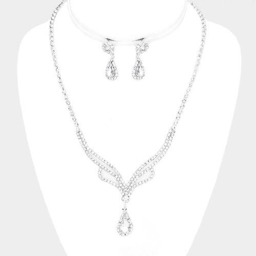 Silver Clear Rhinestone Crystal Teardrop Necklace Set Wedding Bridal Jewelry