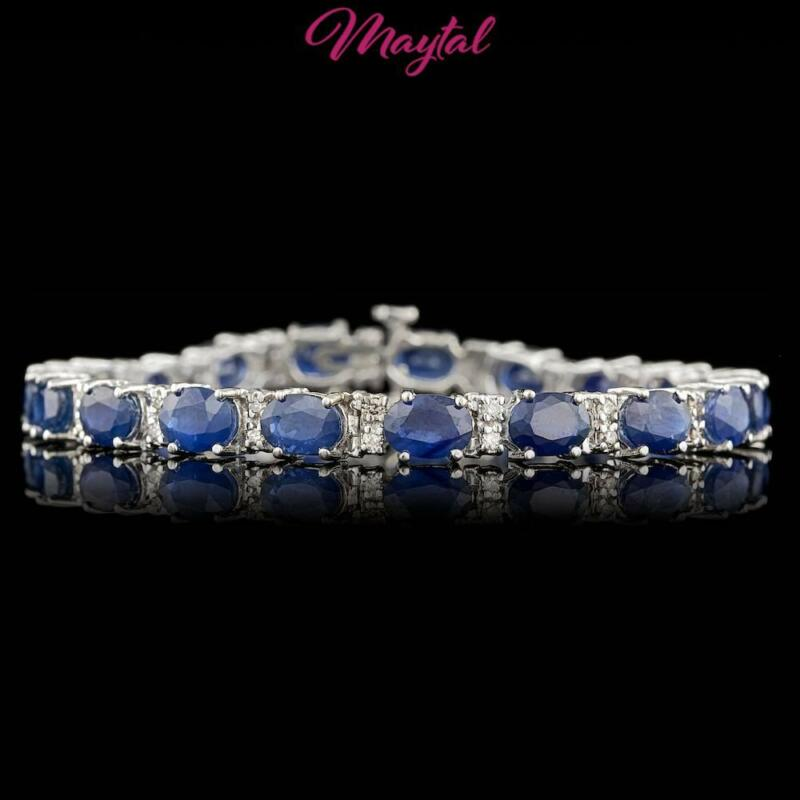 $14100 CERTIFIED 14K WHITE GOLD 20CT NATURAL CEYLON SAPPHIRE DIAMOND BRACELET