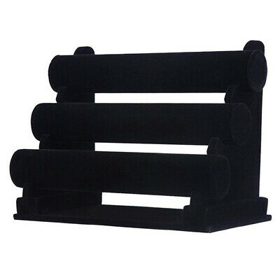 3-tier Rack Black Velvet Jewelry Bracelet Watch Display Bangle Holder Countertop