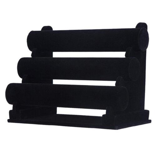 3-Tier Rack Black Velvet Jewelry Bracelet Watch Display Bang