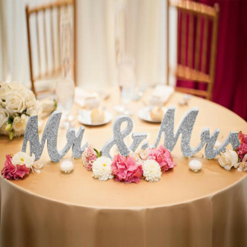 Silver Mr And Mrs Letters Sign Wooden Standing Table Wedding