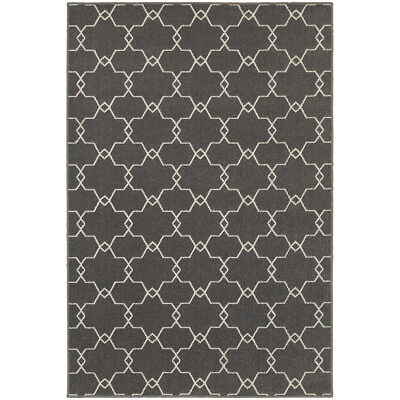 10x13 Grey Curls Swirls Curves Geometric Area Rug Sphinx - A