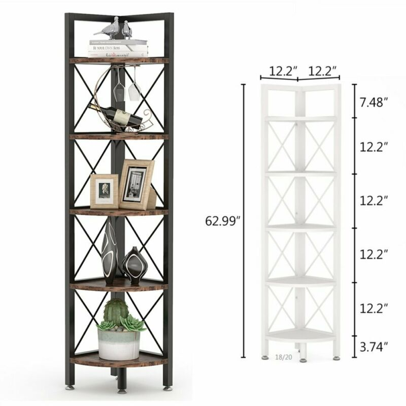 5-Tier Corner Shelf Rack Plant Stand Wood Look Accent Furniture with Metal Frame