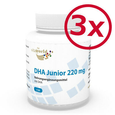 DHA Junior 220mg 120 Cápsulas - Omega 3 Alimentación Infantil Niños -...