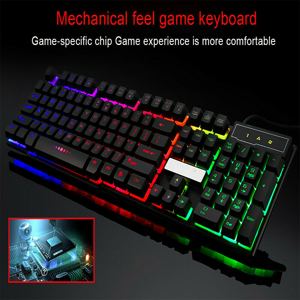 Colorful LED Keyboard Illuminated Backlit USB Wired PC Rainb
