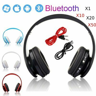 LOT 1-50 PCS Foldable Wireless Bluetooth Headset Mic For Cellphone PC Laptop