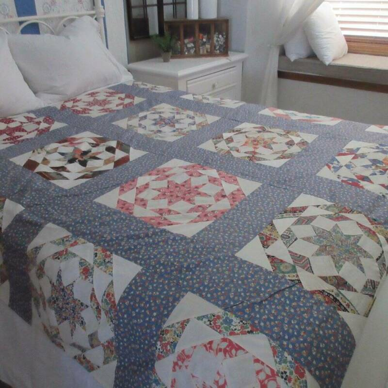 Vintage 30s QUILT Top Duvet with Lovely Blue Floral Backing COTTAGE SWEET