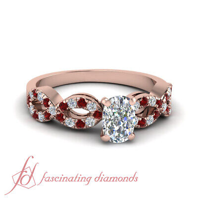 .80 Ct Rose Gold Womens Diamond Rings With Cushion Cut & Round Ruby Gemstone GIA